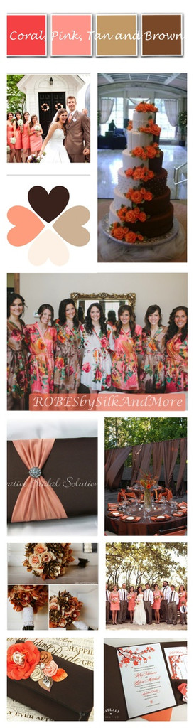 Brown and Coral Wedding Color Robes