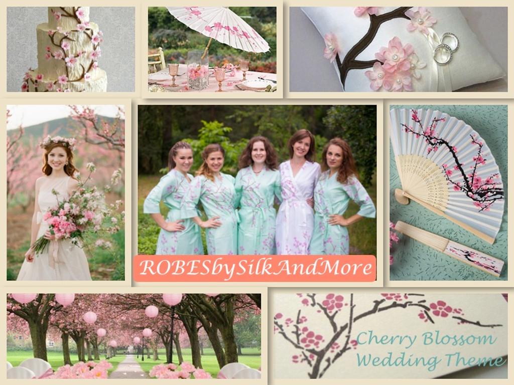 Cherry Blossom Wedding Theme Bridesmaids Robes