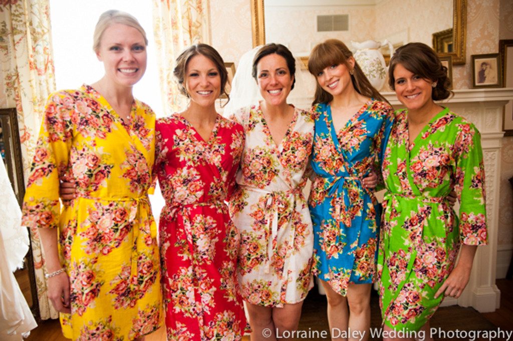 Give each of your bridesmaids a different color robe to get ready in