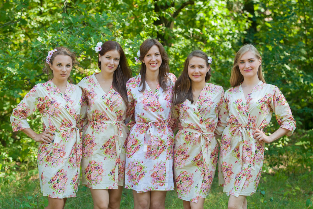 Nude Floral Posy Robes for bridesmaids | Getting Ready Bridal Robes