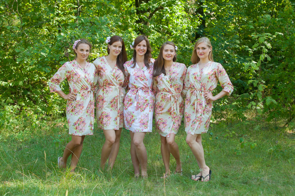 Ivory Floral Posy Robes for bridesmaids   Getting Ready Bridal Robes