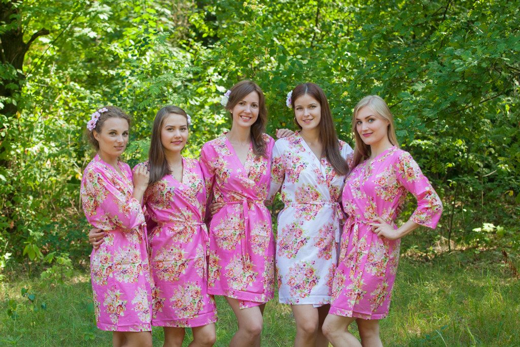 Candy Pink Floral Posy Robes for bridesmaids | Getting Ready Bridal Robes