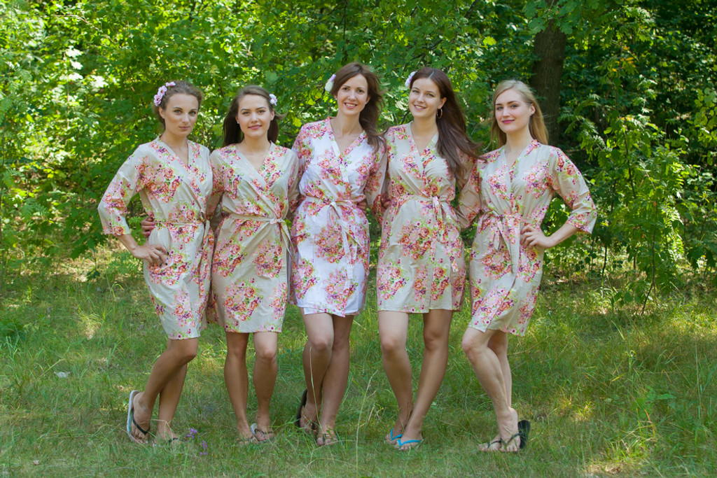 Champagne Beige Floral Posy Robes for bridesmaids | Getting Ready Bridal Robes