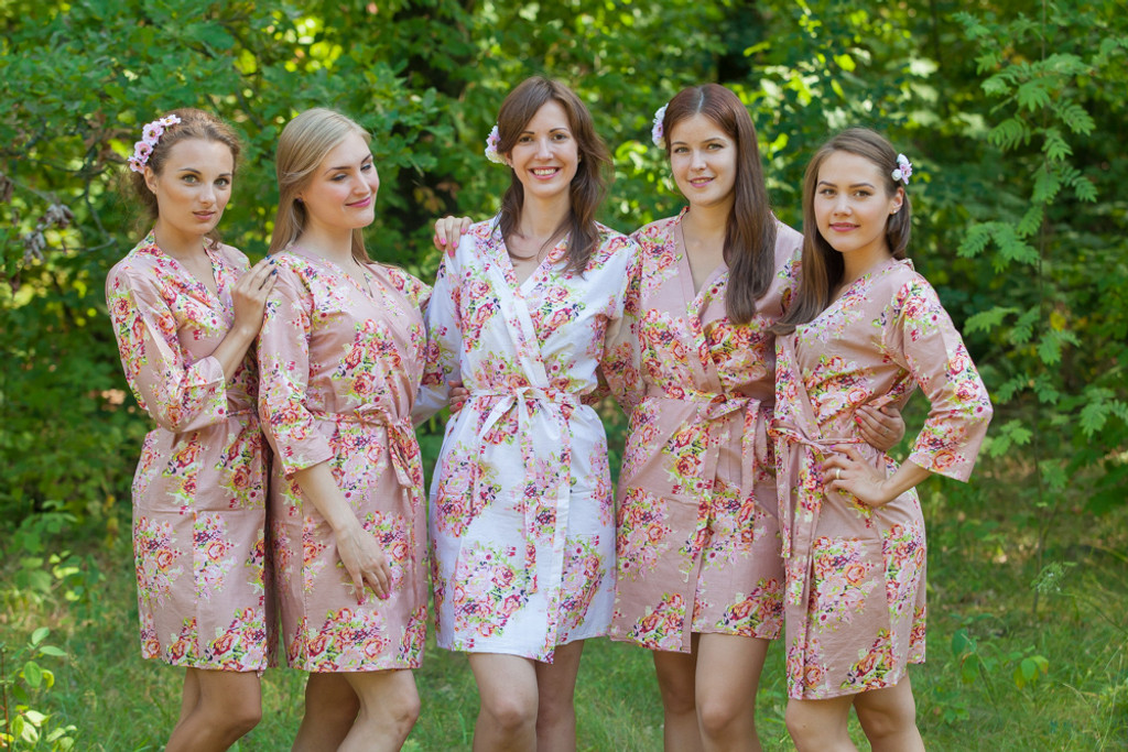 Rose Gold Floral Posy Robes for bridesmaids | Getting Ready Bridal Robes