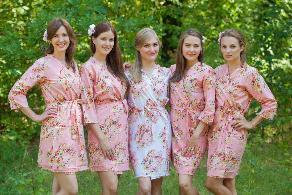 Rose Quartz Pantone Color of the year 2016 Floral Posy Robes for bridesmaids | Getting Ready Bridal Robes