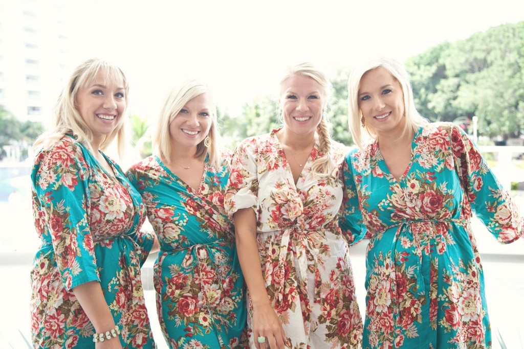 Teal Rosy Red Posy Robes for bridesmaids