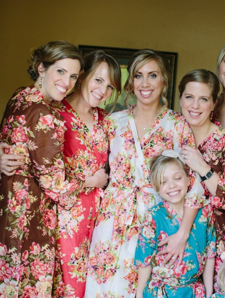 Brown Rosy Red Posy Robes for bridesmaids