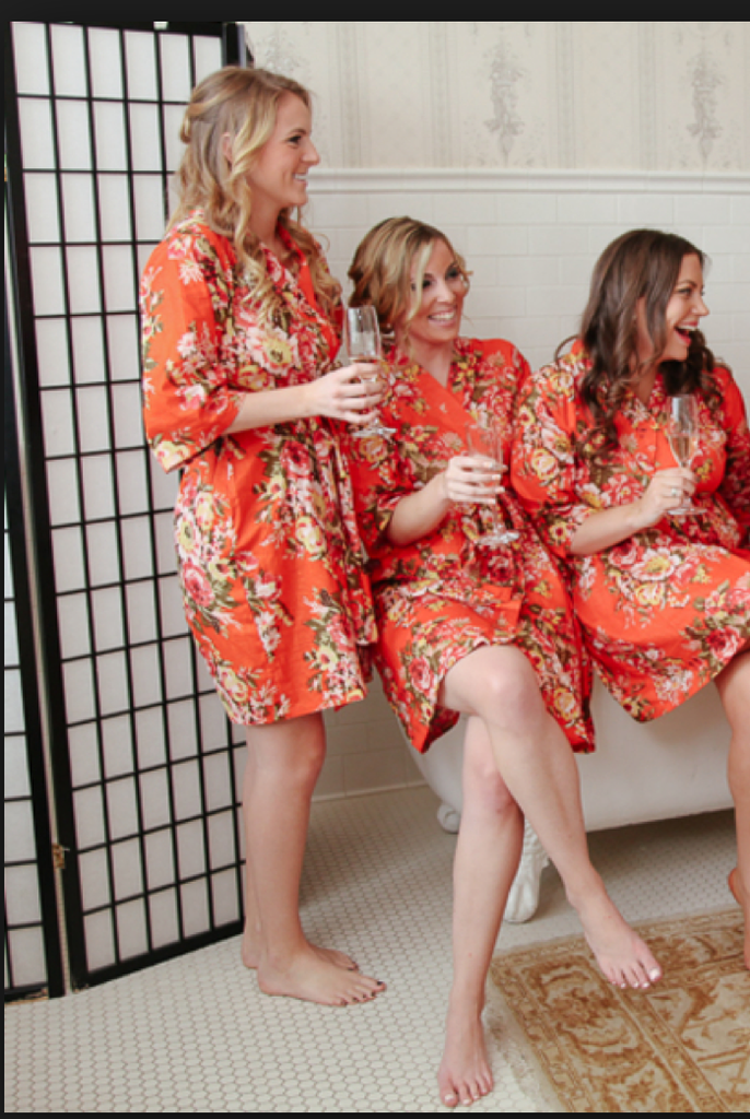 Orange Rosy Red Posy Robes for bridesmaids