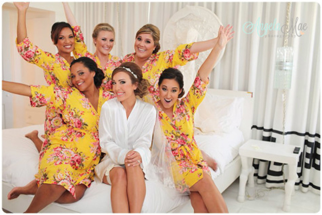 Yellow Rosy Red Posy Robes for bridesmaids