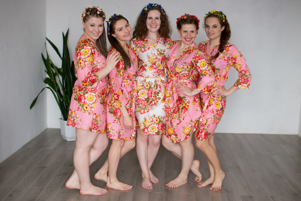 Pink Rosy Red Posy Robes for bridesmaids