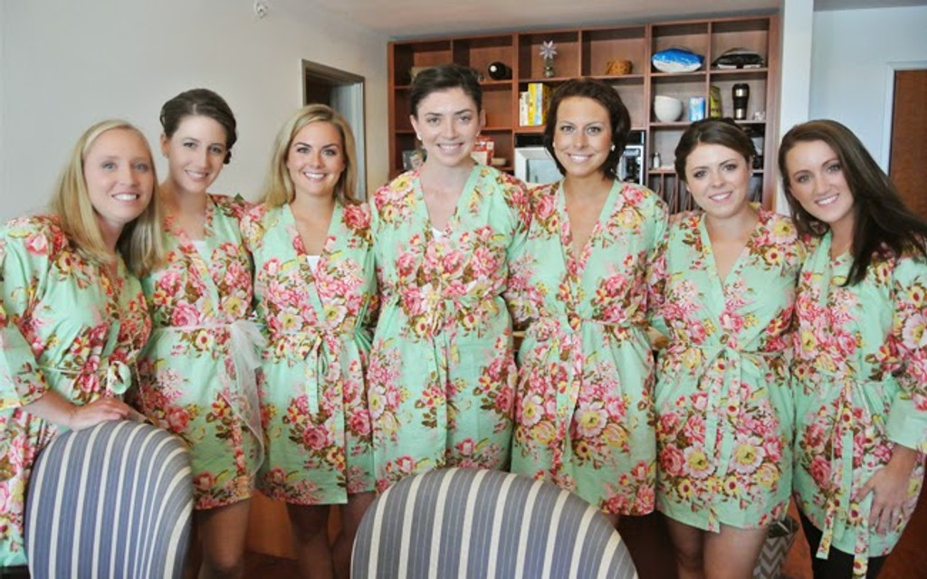 Mint Rosy Red Posy Robes for bridesmaids