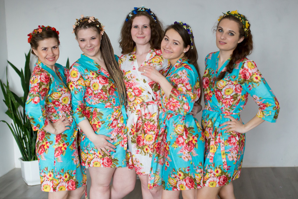 Turquoise Rosy Red Posy Robes for bridesmaids