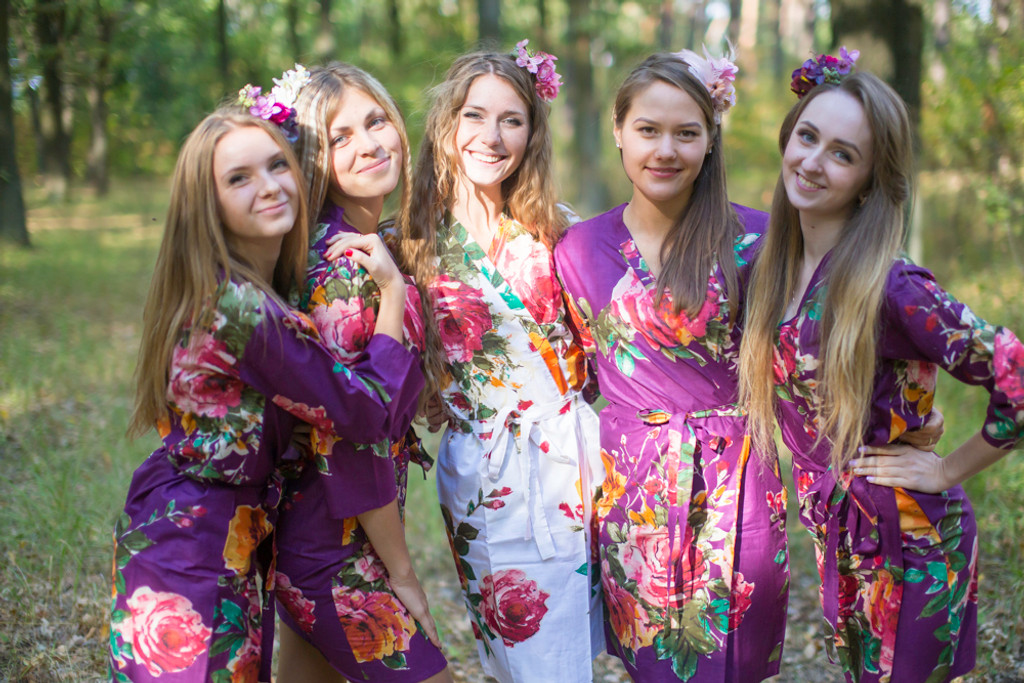 Eggplant Large Floral Blossom Robes for bridesmaids   Getting Ready Bridal Robes