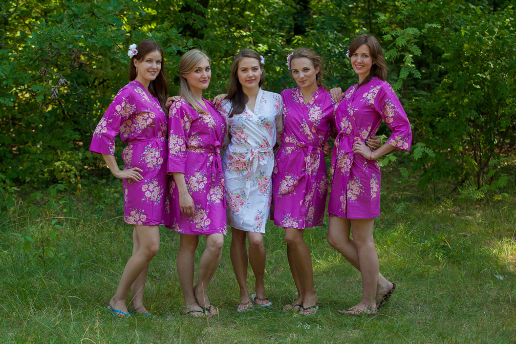 Orchid Faded Floral Robes for bridesmaids