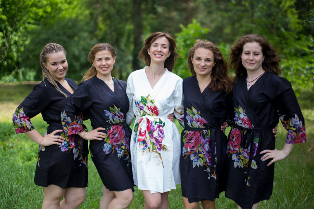 Black One long flower pattered Robes for bridesmaids | Getting Ready Bridal Robes