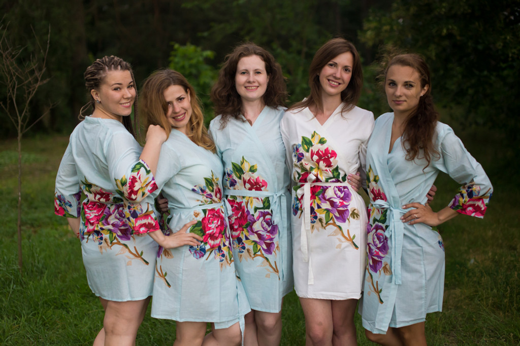 Light Blue One long flower pattered Robes for bridesmaids | Getting Ready Bridal Robes