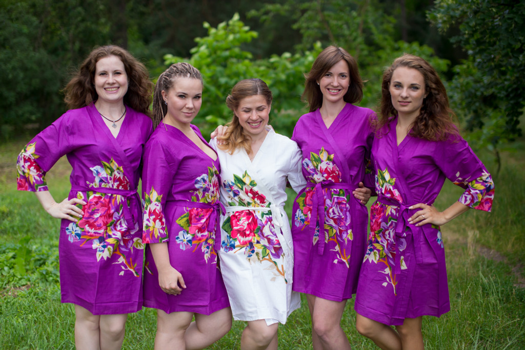 Purple One long flower pattered Robes for bridesmaids | Getting Ready Bridal Robes
