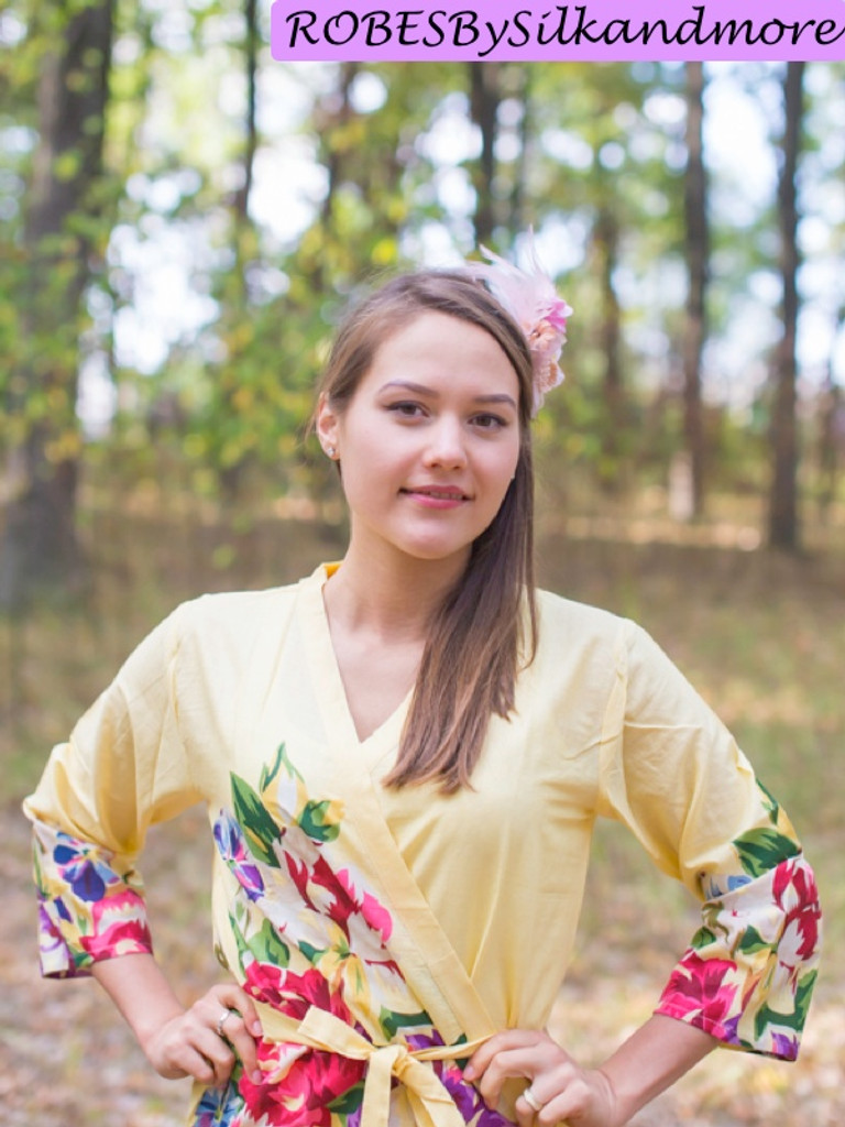 Light Yellow One long flower pattered Robes for bridesmaids | Getting Ready Bridal Robes
