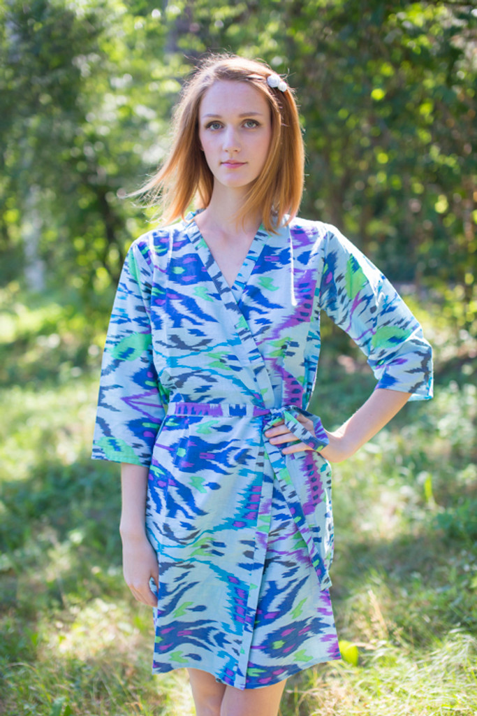 Light Blue Ikat Aztec Robes for bridesmaids | Getting Ready Bridal Robes