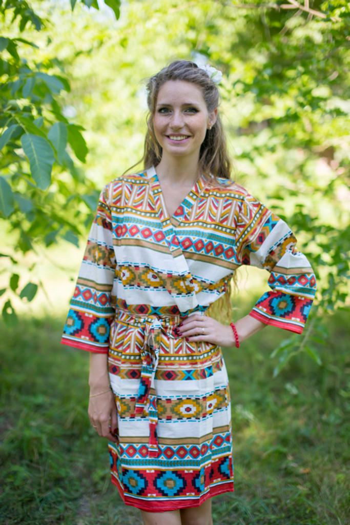 White Mustard Aztec Geometric Robes for bridesmaids | Getting Ready Bridal Robes