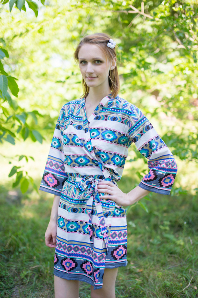 White Gray Aztec Geometric Robes for bridesmaids   Getting Ready Bridal Robes