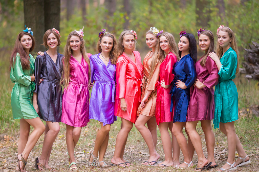 Mismatched Solid Satin Silk Robes in Bright Tones