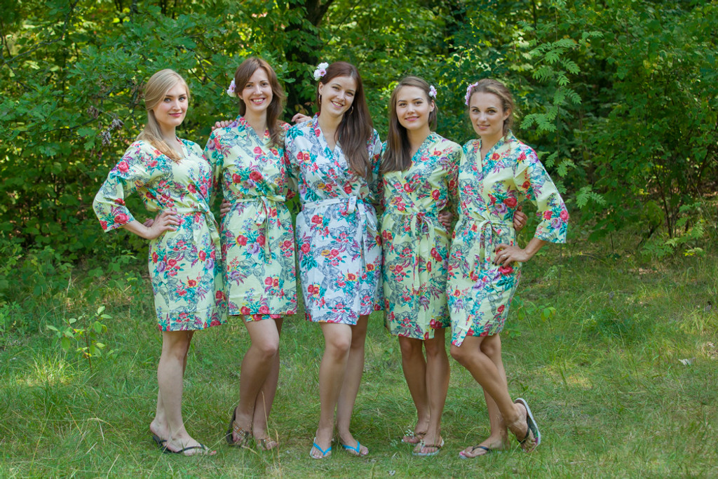 Light Yellow Cute Bows pattered Robes for bridesmaids | Getting Ready Bridal Robes