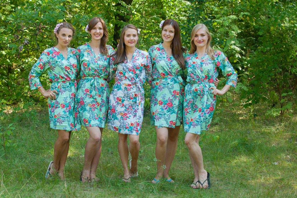 Mint Cute Bows pattered Robes for bridesmaids | Getting Ready Bridal Robes