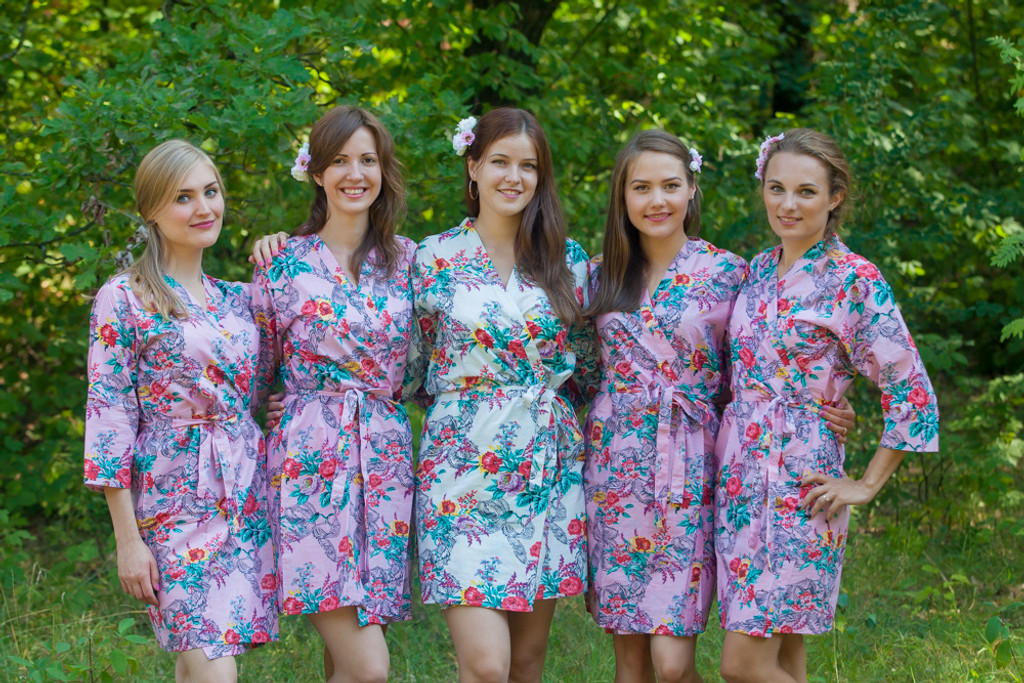 Pink Cute Bows pattered Robes for bridesmaids | Getting Ready Bridal Robes