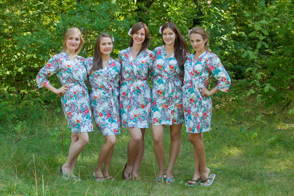 White Cute Bows pattered Robes for bridesmaids | Getting Ready Bridal Robes