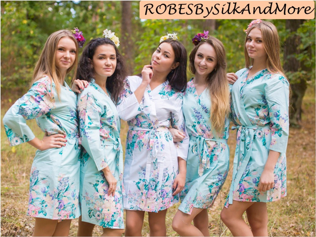 Light Blue Blooming Flowers pattered Robes for bridesmaids   Getting Ready Bridal Robes