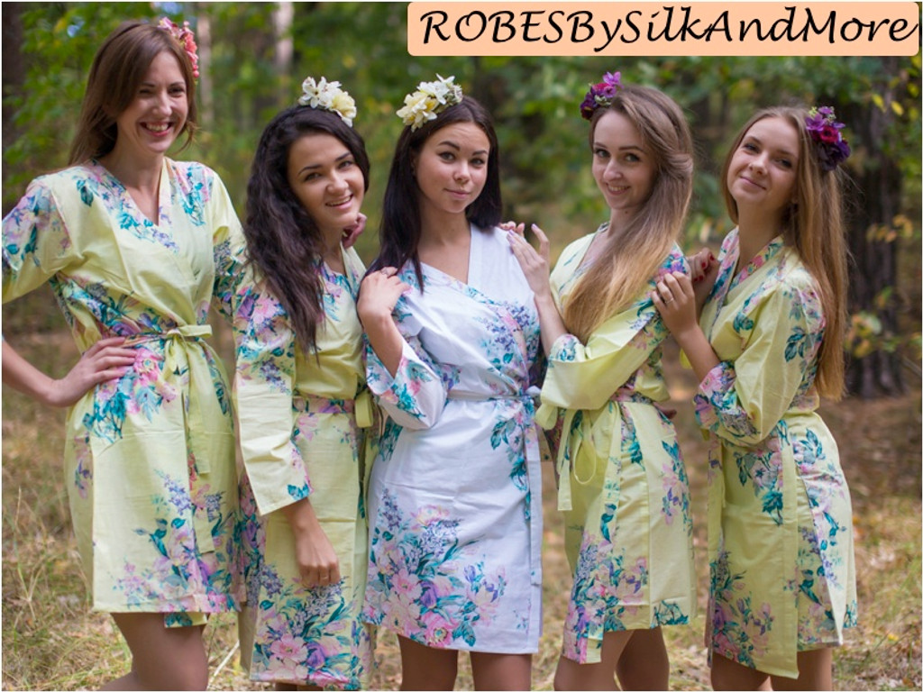 Light Yellow Blooming Flowers pattered Robes for bridesmaids | Getting Ready Bridal Robes