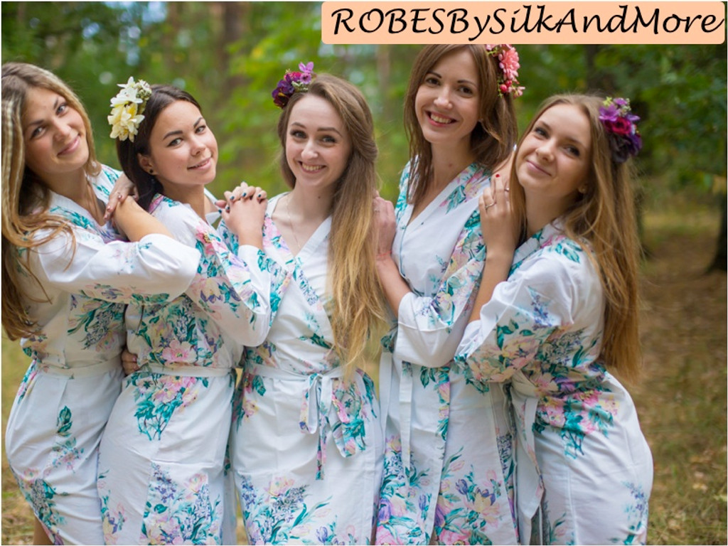 White Blooming Flowers pattered Robes for bridesmaids | Getting Ready Bridal Robes