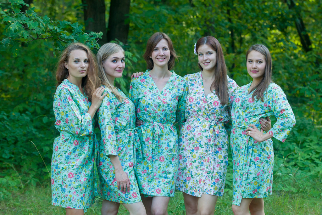 Mint Happy Flowers pattered Robes for bridesmaids | Getting Ready Bridal Robes