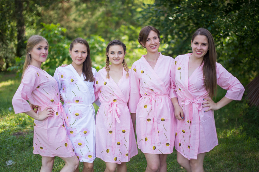 Pink Falling Daisies pattered Robes for bridesmaids | Getting Ready Bridal Robes