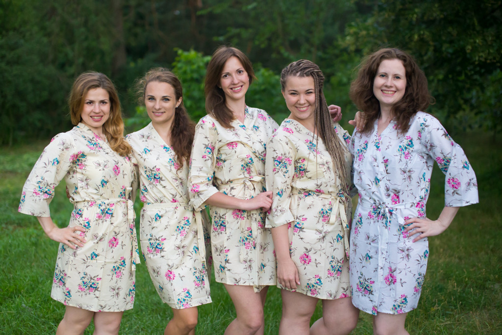 Light Yellow Romantic Floral pattered Robes for bridesmaids | Getting Ready Bridal Robes