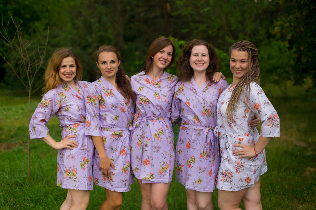 Lilac Romantic Floral pattered Robes for bridesmaids | Getting Ready Bridal Robes