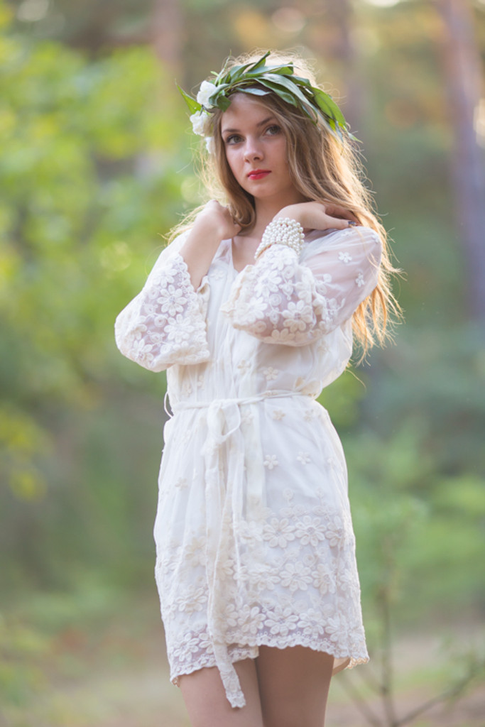 Oh Beatrice Ivory Floral Scalloped Lace Bridal Robe