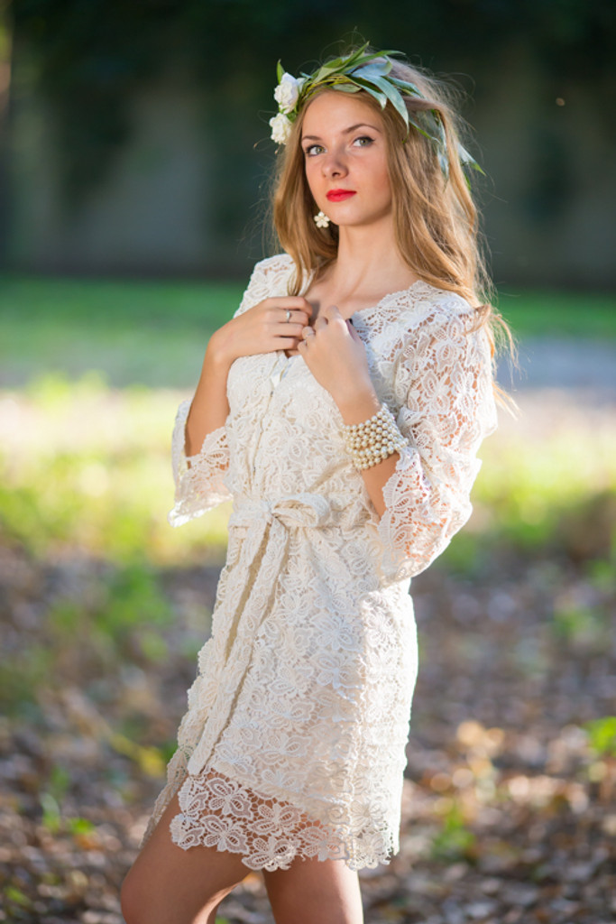 Oh Clara Ivory Butterfly Lace Bridal Robe