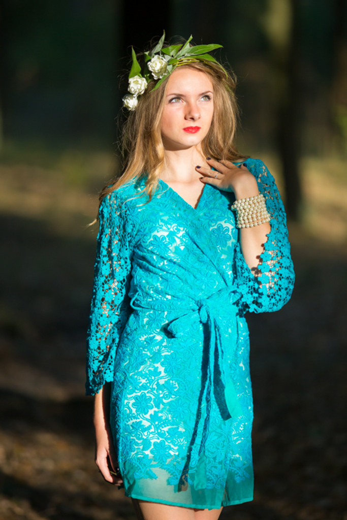 Oh Dale Teal Floral Lace Bridal Robe