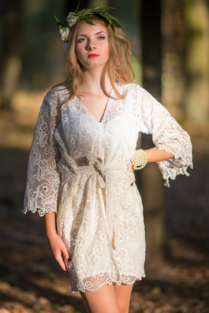 Oh Dreama White Butterfly Lace Bridal Robe
