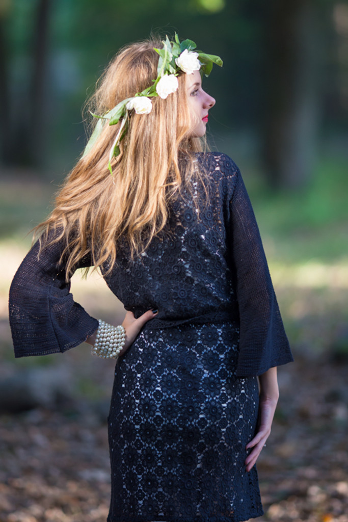 Oh Era Black Romantic Lace Robe