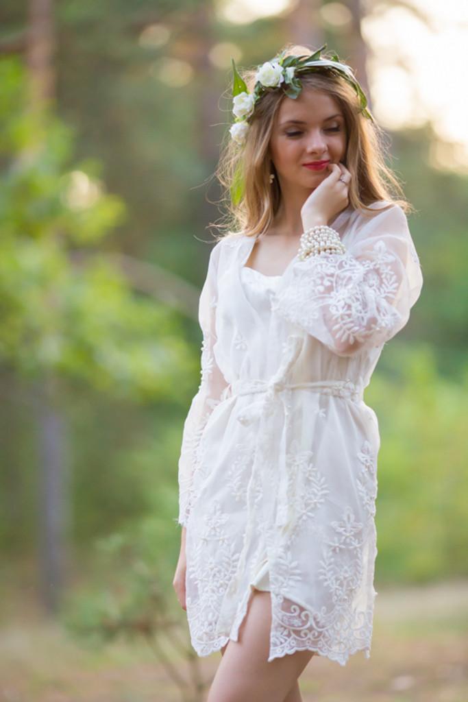 Oh Ethel White Lace Bridal Robe