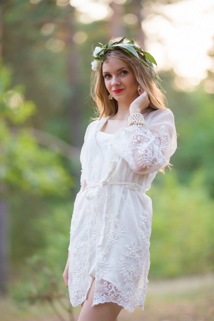 Oh Ethel White Lace Bridal Robe