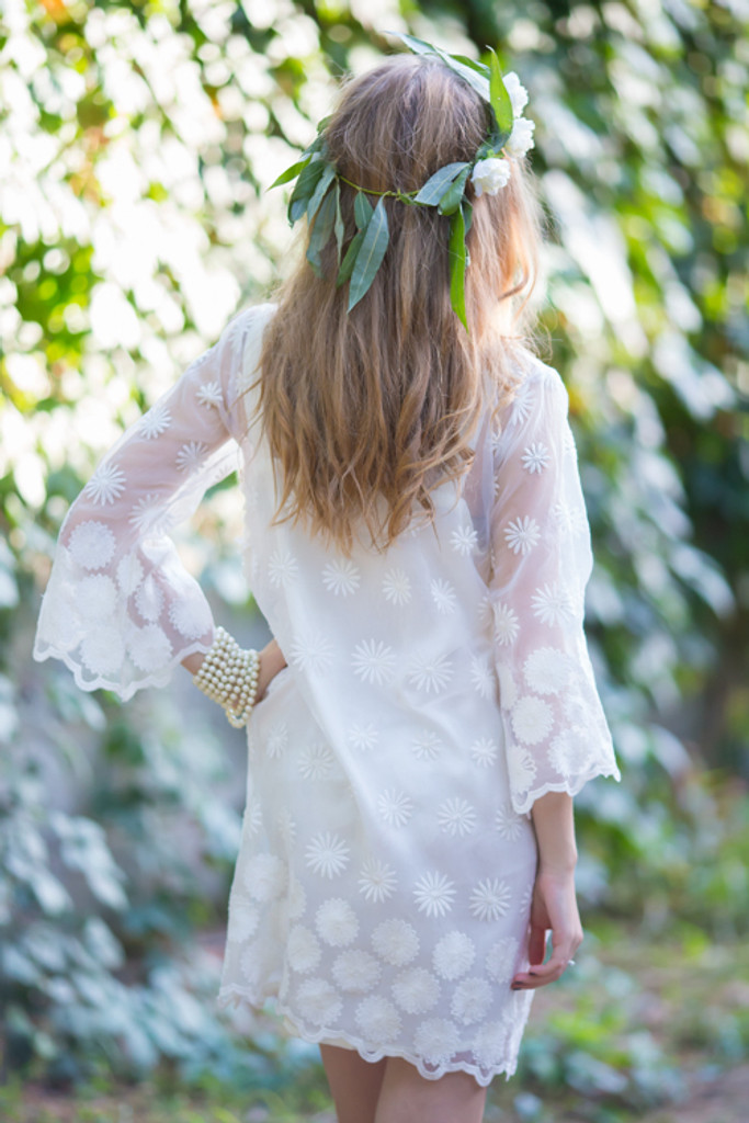 Oh Fay White Floral Lace Bridal Robe