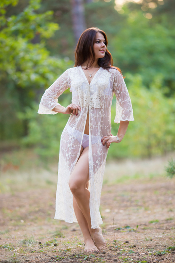 Oh Andrea Ivory Lace Bridal Boudoir Robe