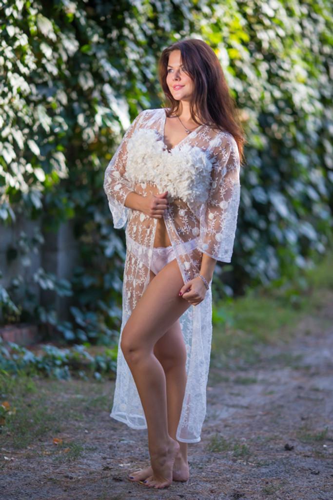 Oh Brooke White Floral Lace Bridal Boudoir Robe