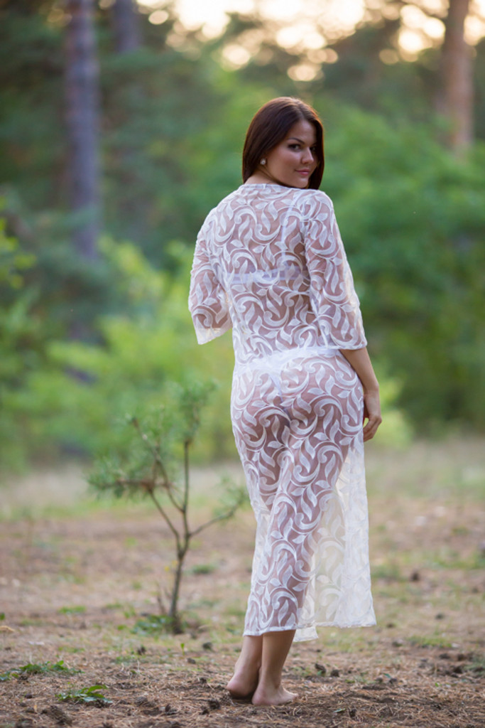 Oh Claudia White Lace Bridal Boudoir Robe