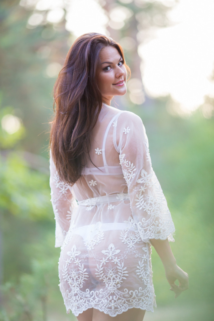Oh Ethel White Lace Bridal Boudoir Robe