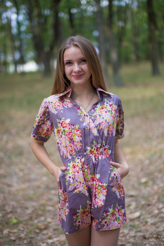 Collared Bridesmaid Romper in Floral Posy Pattern